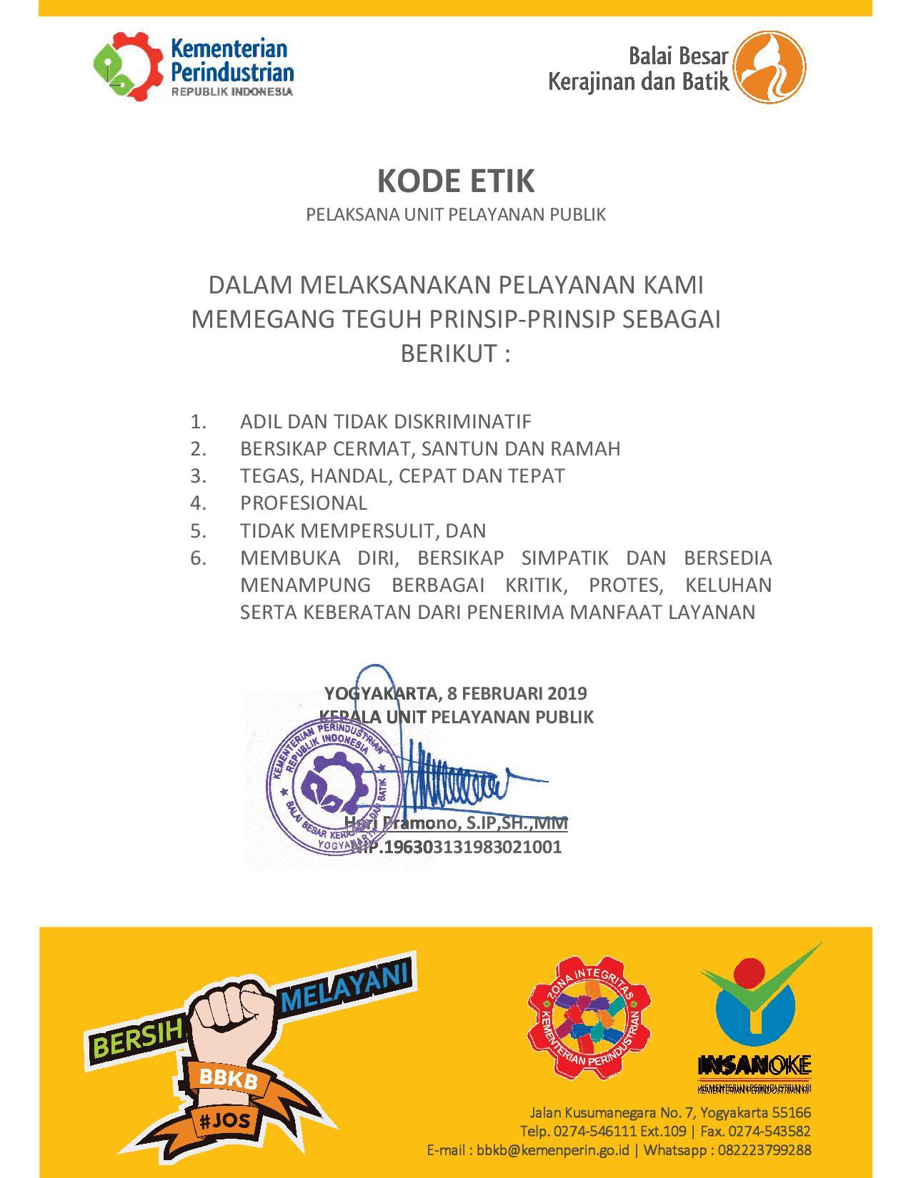 Kode Etik Pelayanan