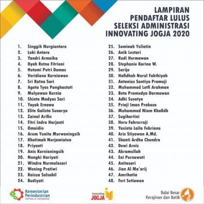 Pengumuman Hasil Seleksi Administrasi Innovating Jogja 2021 _foto
