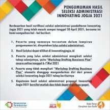 Pengumuman Hasil Seleksi Administrasi Innovating Jogja 2021