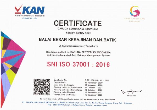 Balai Besar Kerajinan dan Batik Berhasil Mendapatkan Sertifikasi SMAP ISO 37001:2016_foto