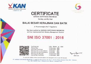 Balai Besar Kerajinan dan Batik Berhasil Mendapatkan Sertifikasi SMAP ISO 37001:2016