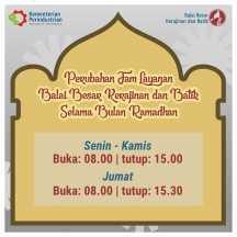 Jam Layanan BBKB Selama Bulan Ramadhan